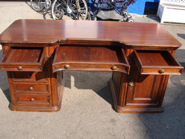 schreibtisch mahagoni sch bladen herrenzimmer tisch b ro b rotisch antik ebay. Black Bedroom Furniture Sets. Home Design Ideas